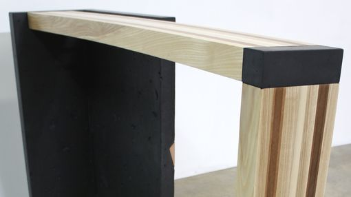 Custom Made Concrete And Wood Console Table, Right Curve