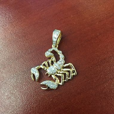 Custom Made 14k Gold Diamond Scorpio/Scorpion Pendant 0.49cts- Zodiac Sign Charm