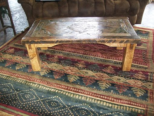 Custom Made Rustic Endtable With Slate Top