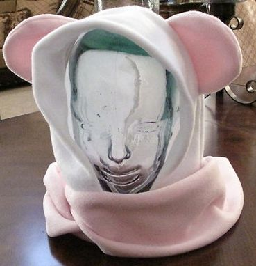 Custom Made Panda Pink/White Fleece Ear Scarf Hoodie Hat In 6 Sizes