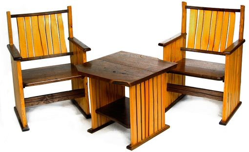 Custom Made Split Wood Chairs And Table
