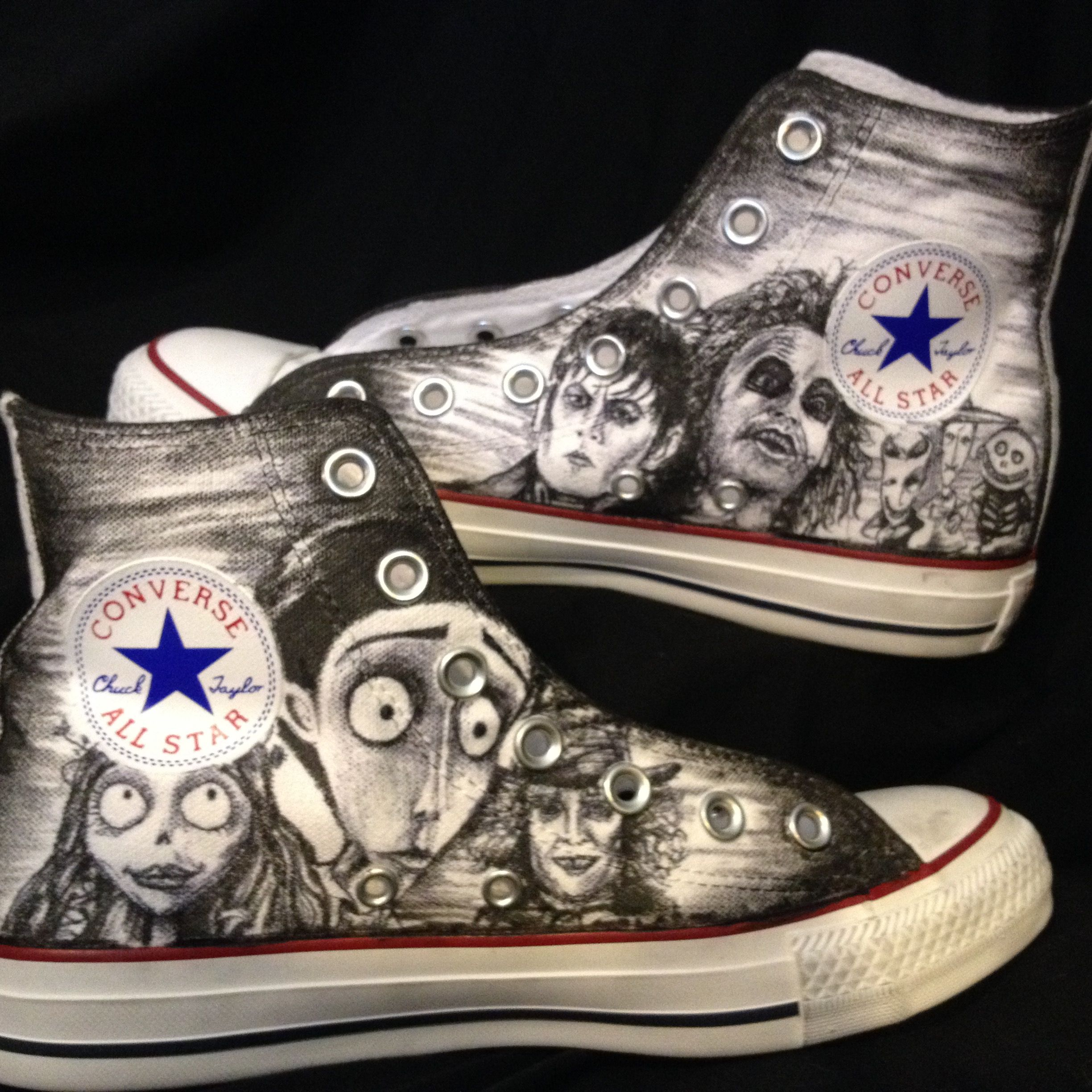 a86d9423ac1d26 Custom Made Hand Drawn Custom Nightmare Before Christmas Tim Burton Shoes