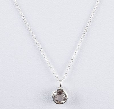 Custom Made Sterling Silver Faceted Rock Crystal Clear Quartz Astrology Pendant Necklace April