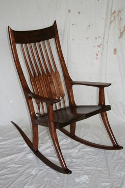 Custom Made Black Walnut Rocking Chair