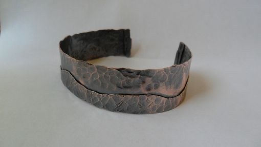 "Custom Made Unisex Hammered Copper Cuff Bracelet ""Catch The Wave''"