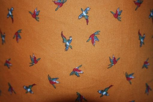Custom Made 1980'S Rare Vintage Orange Novelty Pillow Cover With Pheasant And Duck Print