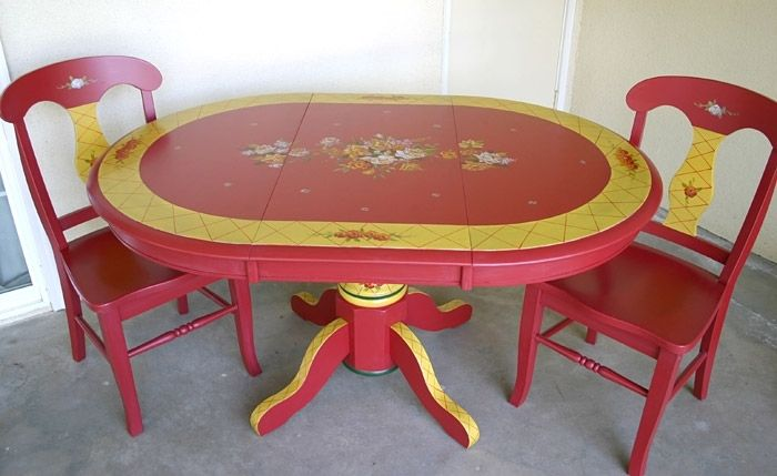 hand crafted custom painted dining table and chairszulim