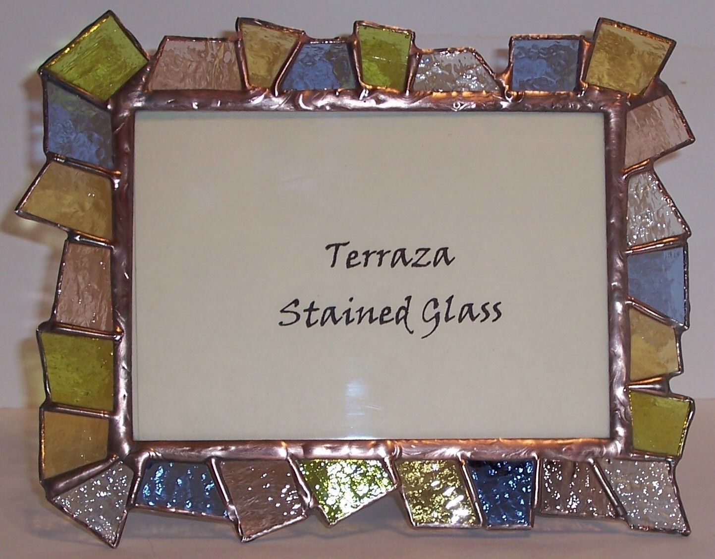 custom made chunky stained glass picture frame 5 x 7 pastel transparent frame f
