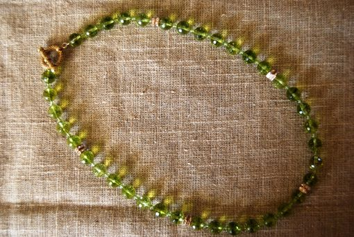 Custom Made Exquisite Faceted Genuine Peridot Necklace, Swarovski Crystal Rondelles