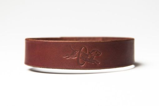 Custom Made Chestnut Brown Leather Choker - Latigo - Nickel Fasteners