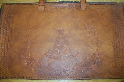 Custom Made Custom Leather Mason Apron Case With Rounded Square And Compass In Java Brown Color
