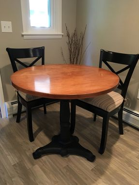 Custom Made Solid Hardwood And Iron Pedestal Dining Table