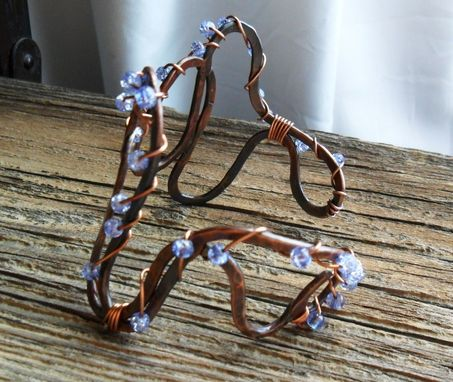 Custom Made Solid Copper Wire Cuff Bracelet With Periwinkle Glass Beads