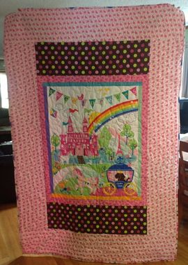 Custom Made Customized Panelled Twin Girl's Quilt