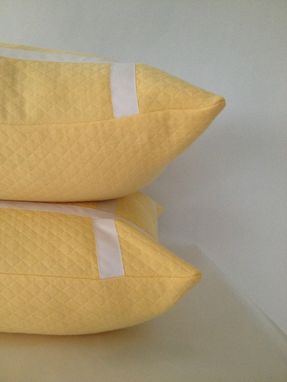 Custom Made Baby Yellow With Ribbon Embellishment Pillow Cover