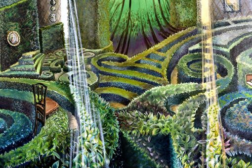 Custom Made Realistic Painting Of Hedges Magical Realism Landscape With Harpsicord And Wallpaper