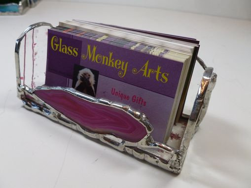 Custom Made Stained Glass Business Card Holder With Pink Brazilian Agate