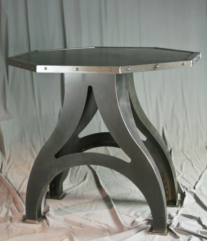 Buy A Hand Made Octagon Industrial Dining Table (Round