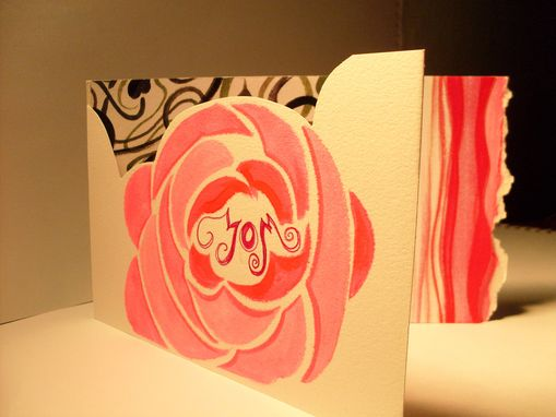 Custom Made Hand Painted Valentine's Day Card Art Nouveau Roses And Vines