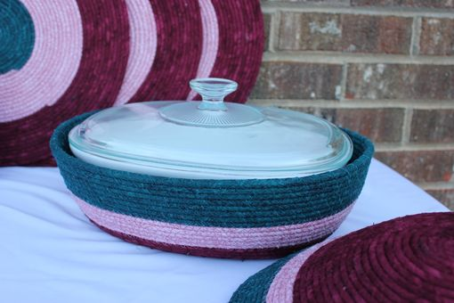 Custom Made Fabric Placemat Set With Matching Casserole Dish - Oval