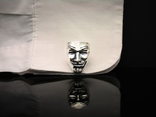 Custom Made Sterling Silver Guy Fawkes Cufflinks