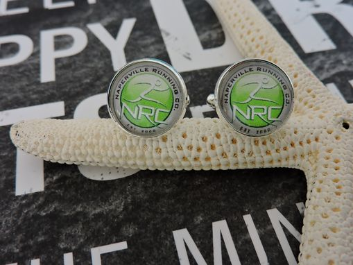 Custom Made Sterling Silver Plated Glass Bezel Cufflinks