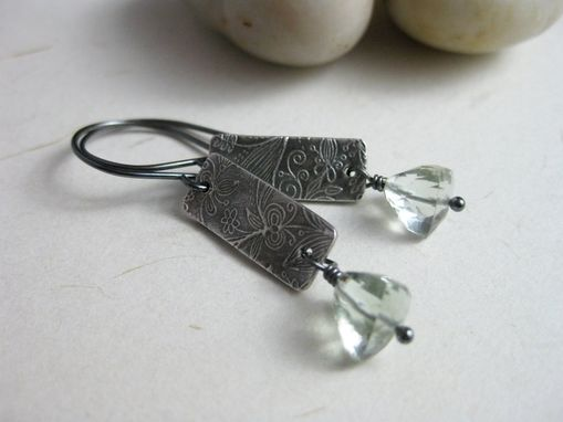 Custom Made Prasiolite Earrings Recycled Silver Pmc Oxidized Gray Green Amethyst Sterling Silver