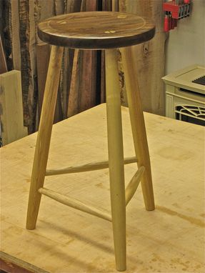 Custom Made Walnut And Ash Stool