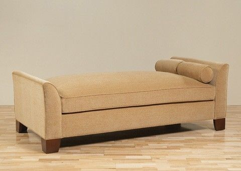 Custom Made Chestnut/Beige Empire Chaise Lounge Daybed