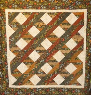 Custom Made Custom Made Brown Floral Diamond Throw Quilt