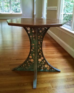 Custom Made 8-Sided Walnut Pedestal Table With Laser Cut Base