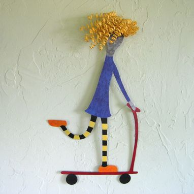 Custom Made Handmade Upcycled Metal Skater Girl Wall Art Sculpture