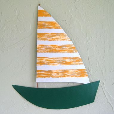 Custom Made Handmade Upcycled Metal Sailboat Wall Art Sculpture In Yellow And Green
