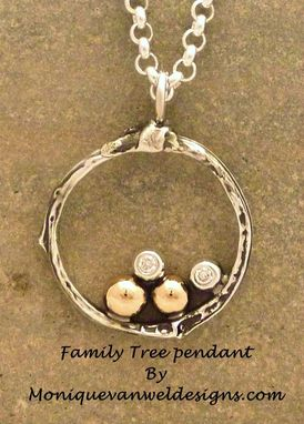 Custom Made Family Tree Pendant , 4 With Diamonds, Free Shipping