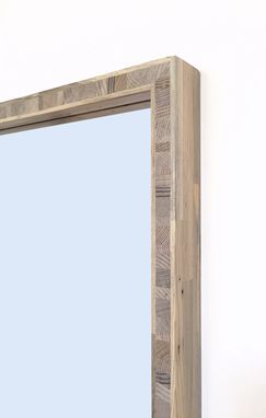 Custom Made Modern Blue Pine Mirror With Block Core Frame, 16 X 26, Custom Sizes Available