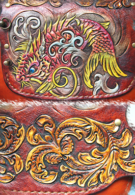 Custom Made Hand Tooled, Hand Carved, Koi Dragon Biker Long Wallet.