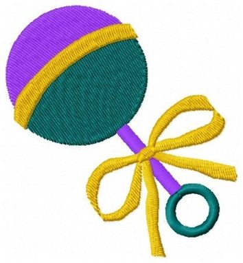 Custom Made Rattle Embroidery Design