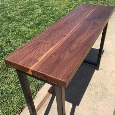 Custom Made Solid Walnut Console Table With Hand-Forged Metal Legs