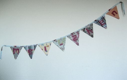 Custom Made Custom Felt Name Fabric Banner. Personalized Nursery Decor, Cloth Pennant Flag Bunting.