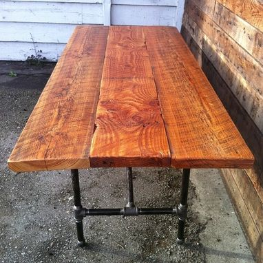 Custom Made Reclaimed Wood Dining Table With Cast Iron Pipe Legs