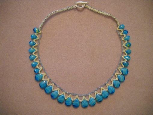 Custom Made Aqua Blue Glass Teardrop Necklace