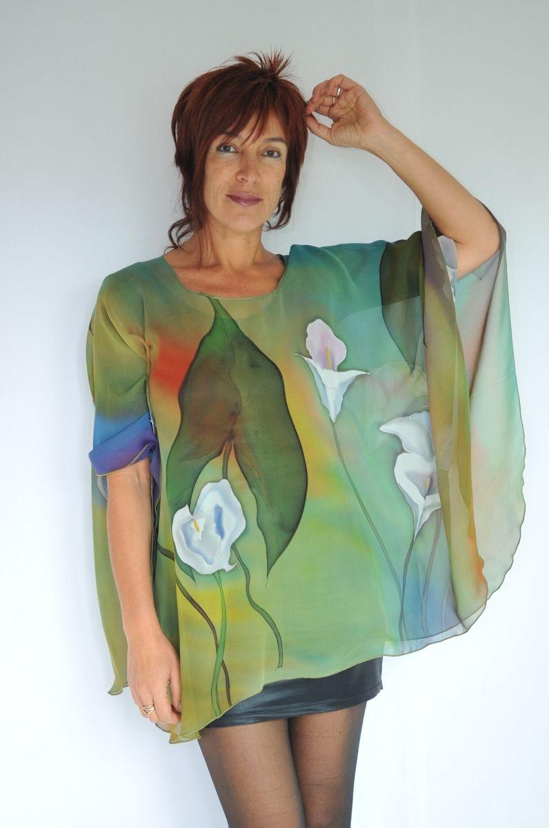 Custom Hand Painted Silk Poncho By Natasha S Silks