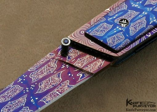 Custom Made Barry Gallagher Custom Knife Mother Of Pearl & Blued Sole Authorship Damascus Linerlock