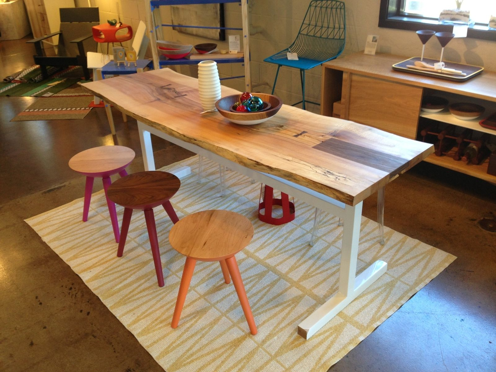 Hand Made Natural Live Edge Dining Table Spalted Maple