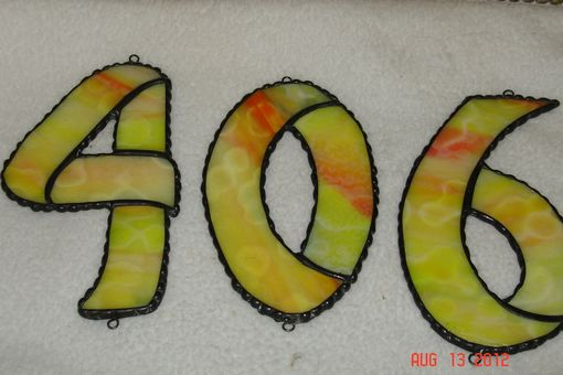 Custom Made Stained Glass House Numbers Sz 3 X 5 - Custom Orders