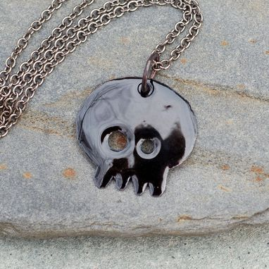 Custom Made Skull Necklace Pendant Copper Enamel Enameled Jewelry Black, Trixie