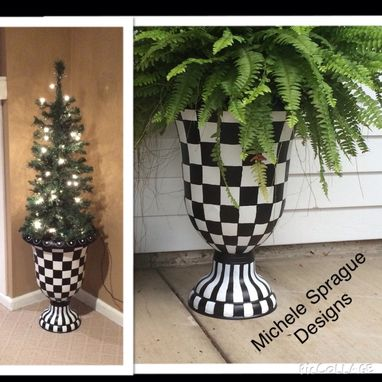 Custom Made Painted Urn Planter // Whimsical Painted Planter Urn // Harlequin Urn