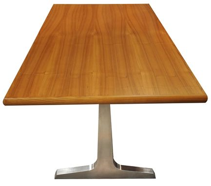 Custom Made Teak And Brushed Stainless Steel Dining Table