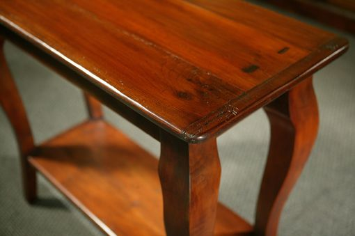 Custom Made Sofa Tables With Shelf With Brown Cherry Finish