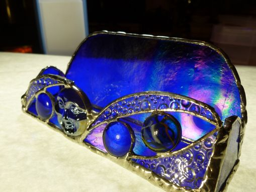 Custom Made Blue Iridescent Moon Face Stained Glass Business Card Holder
